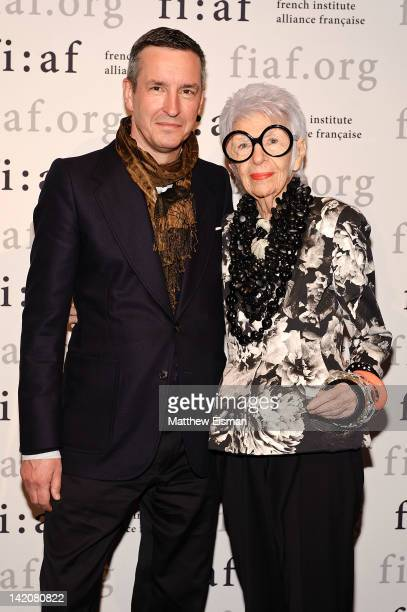Fashion designer Dries Van Noten and fashion icon Iris Apfel attend the FIFA 2012 Fashion Talks Series at Florence Gould Hall on March 29 2012 in New...