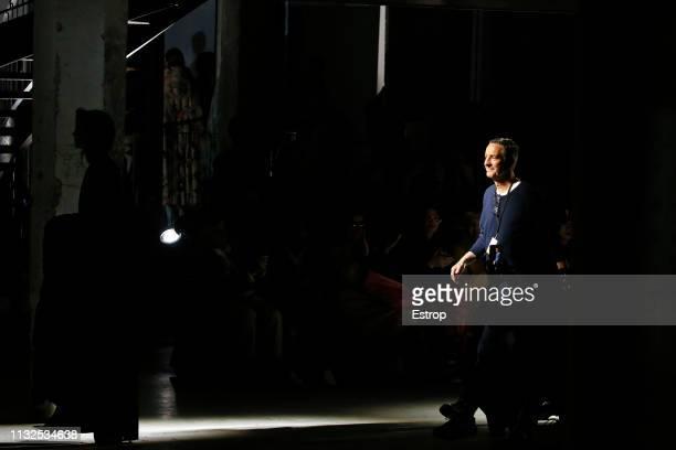 Fashion designer Dries Van Noten at the Dries Van Noten show at Paris Fashion Week Autumn/Winter 2019/20 on February 27 2019 in Paris France