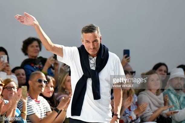 Fashion designer Dries van Noten walks the runway during the Dries Van Noten Ready to Wear fashion show as part of the Paris Fashion Week Womenswear...