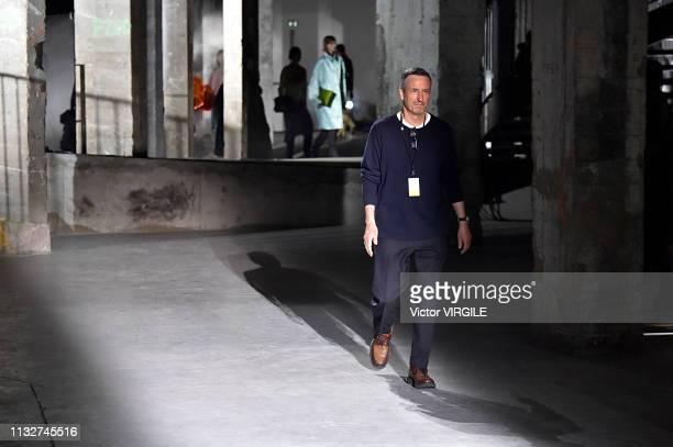 Fashion designer Dries Van Noten walks the runway during the Dries Van Noten Ready to Wear Fall/Winter 2019-2020 fashion show as part of the Paris...
