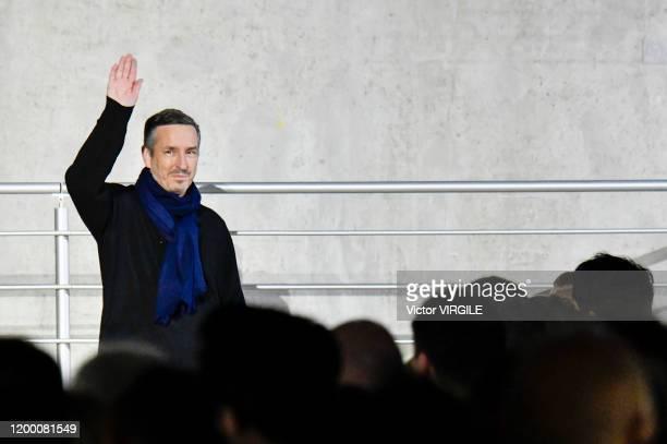 Fashion designer Dries Van Noten walks the runway during the Dries Van Noten Menswear Fall/Winter 2020-2021 show as part of Paris Fashion Week on...