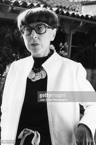 Fashion designer Edith Head hosts a book party at her home for photographer John Engstead in May1978 in Beverly Hills California