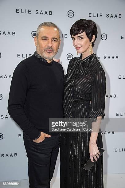 Fashion designer Elie Saab and Paz Vega pose Backstage after the Elie Saab Spring Summer 2017 show as part of Paris Fashion Week on January 25 2017...