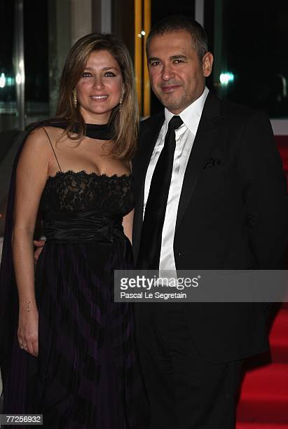 Fashion designer Elie Saab and wife Claudine arrive to attend the Gala Dinner for International Cinema for Truth Festival on October 10 2007 in Mote...