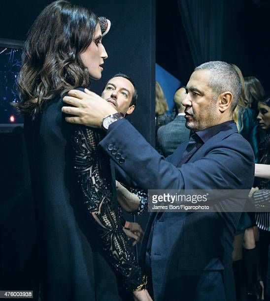 Fashion designer Elie Saab is photographed for Madame Figaro backstage at his Autumn/Winter 2015- 2016 prêt-à-porter show on March 6, 2015 in Paris,...