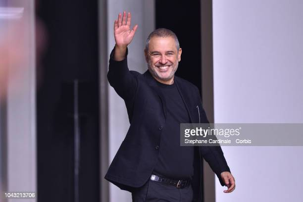 Fashion designer Elie Saab walks the runway during the Elie Saab show as part of the Paris Fashion Week Womenswear Spring/Summer 2019 on September 29...