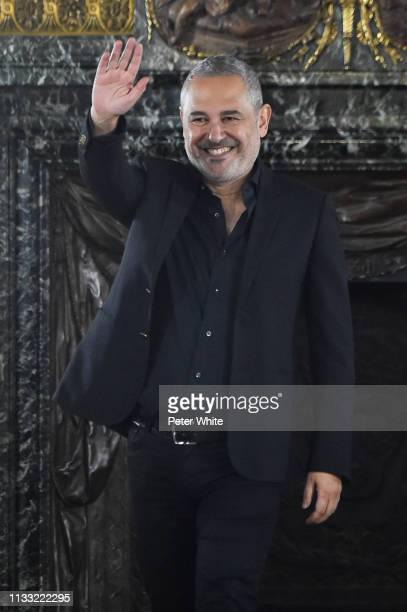 Fashion designer Elie Saab walks the runway during the finale of Elie Saab show as part of the Paris Fashion Week Womenswear Fall/Winter 2019/2020 on...