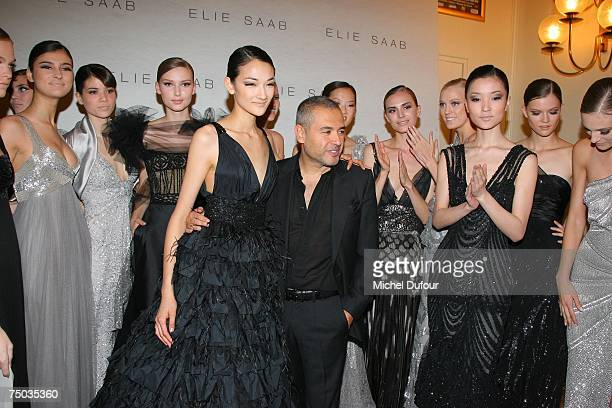Fashion designer Elie Saab with his models at the Elie Saab Fashion show during Paris Fashion Week fall/winter 200708 at the Cirque d'Hiver on July 4...