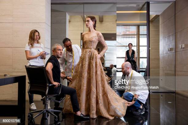Fashion designer Elie Saab working on his new fashion collection is photographed for Paris Match on June 24 2017 in Beirut Lebanon