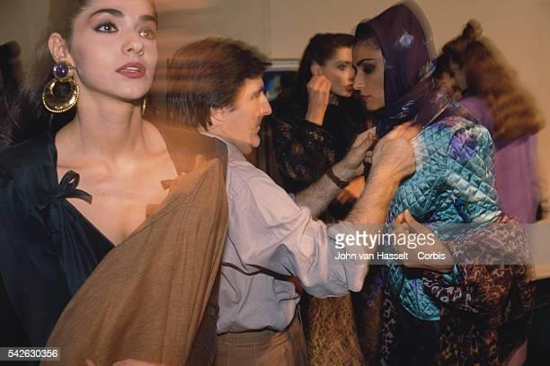 Fashion designer Emanuel Ungaro backstage prior to his Ready to Wear Autumn Winter 1989 collection