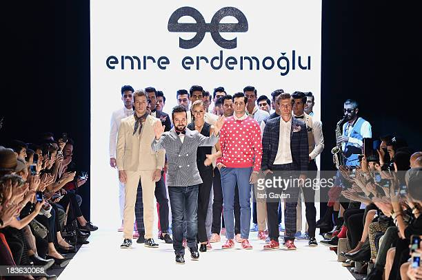 Fashion designer Emre Erdemoglu and models walk the runway at the Emre Erdemoglu show during MercedesBenz Fashion Week Istanbul s/s 2014 presented by...