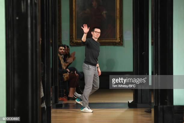 Fashion designer Erdem Moralioglu is seen on the runway at the ERDEM show during London Fashion Week February 2018 on February 19 2018 in London...