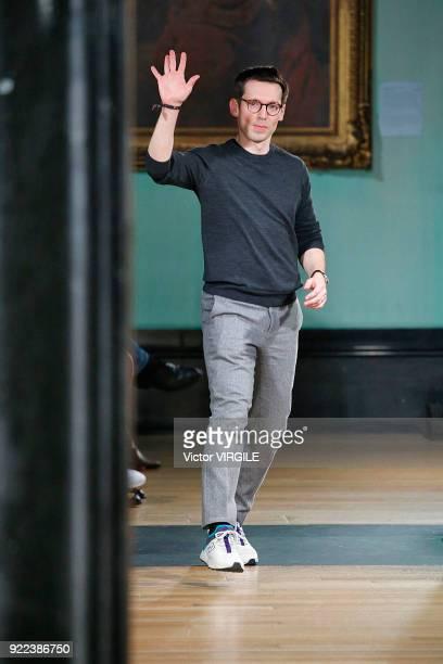 Fashion designer Erdem Moralioglu walks the runway at the ERDEM Ready to Wear Fall/Winter 20182019 fashion show during London Fashion Week February...