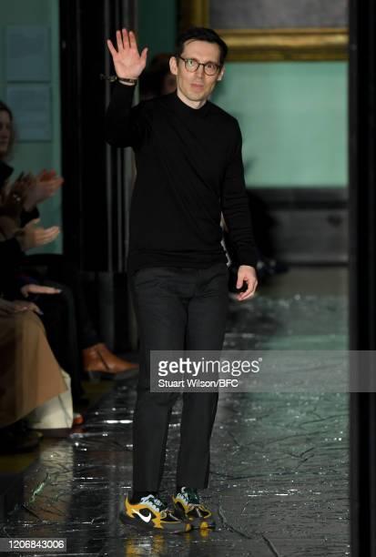 Fashion designer Erdem Moralioglu walks the runway at the Erdem show during London Fashion Week February 2020 on February 17, 2020 in London, England.