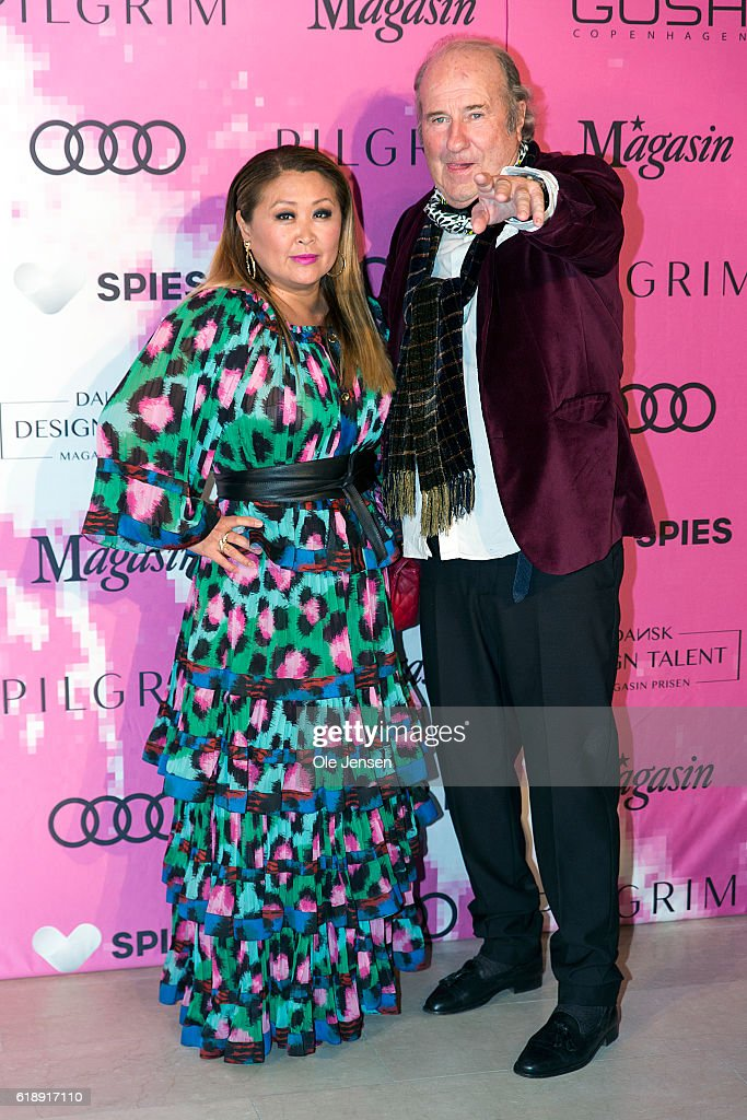 Fashion designer Erk Brandt and movie critic Ann Lind Andersen arrive to the Danish Talent Award 2016 show at the National Gallery on October 27, 2016 in Copenhagen, Denmark.