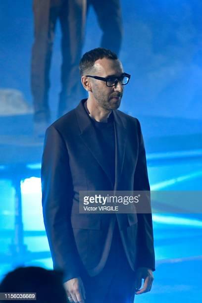 Fashion designer Ermenegildo Zegna walks the runway at the Ermenegildo Zegna fashion show during the Milan Men's Fashion Week Spring/Summer 2020 on...