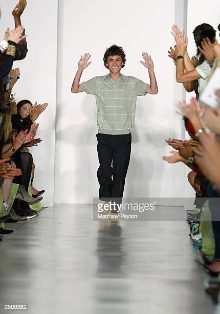 Fashion designer Esteban Cortazar walks the runway at the Esteban Cortazar Spring/Summer 2004 Collection at MAO Space @ Atlas during the 7th on Sixth...