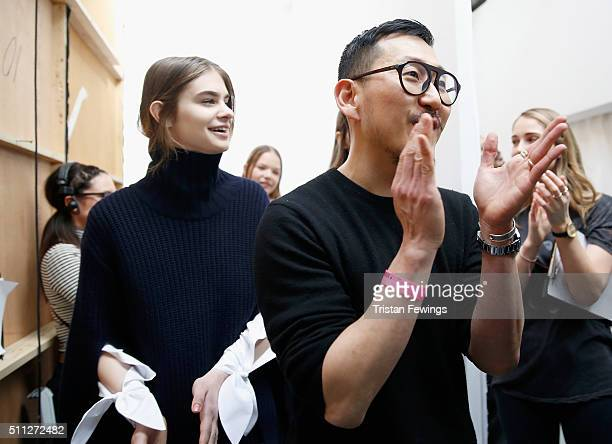 Fashion designer Eudon Choi backstage ahead of his show during London Fashion Week Autumn/Winter 2016/17 at Brewer Street Car Park on February 19...