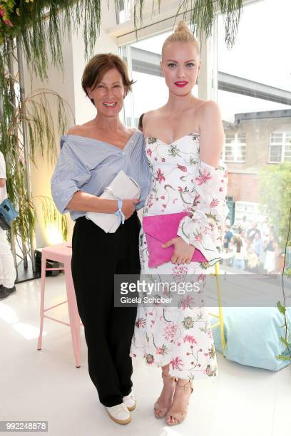 Fashion designer Eva Lutz Minx and Franziska Knuppe attend The Fashion Hub during the Berlin Fashion Week Spring/Summer 2019 at Ellington Hotel on...
