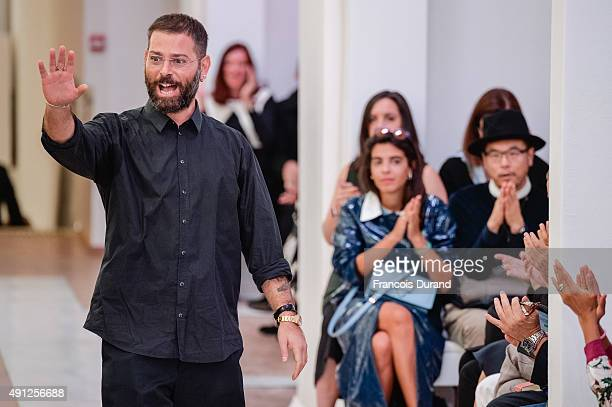 Fashion designer Fausto Puglisi acknowledges the audience at the end of the Emanuel Ungaro show as part of the Paris Fashion Week Womenswear...