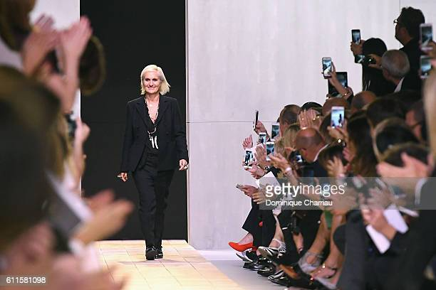 Fashion designer for Christian Dior Maria Grazia Chiuri walks the runway during the Christian Dior show as part of the Paris Fashion Week Womenswear...