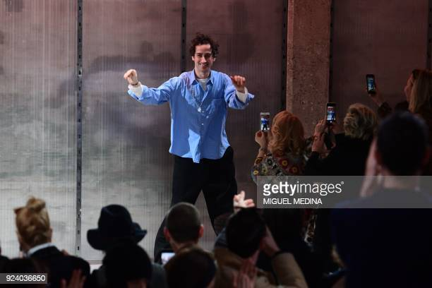 Fashion designer for Marni Francesco Risso acknowledges the audience at the end of the women's Fall/Winter 2018/2019 collection fashion show by Marni...