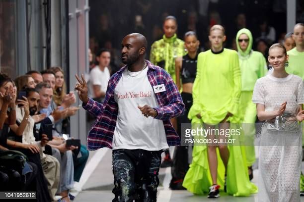 US fashion designer for OffWhite Virgil Abloh acknowledges the audience at the end of the OffWhite SpringSummer 2019 ReadytoWear collection fashion...