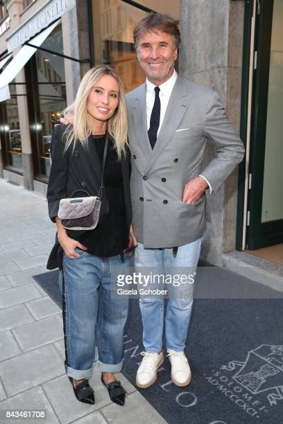 Fashion designer founder and president Brunello Cucinelli and his daughter Camilla Cucinelli during the Brunello Cucinelli Cocktail on September 6...