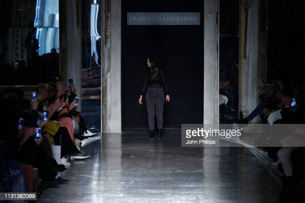 Fashion designer Francesca Liberatore acknowledges the applause of the audience after the Francesca Liberatore show at Milan Fashion Week...