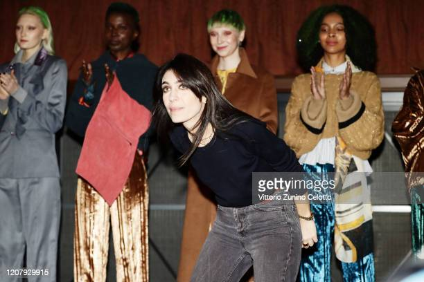 Fashion designer Francesca Liberatore acknowledges the applause of the audience during the Francesca Liberatore fashion show as part of Milan Fashion...