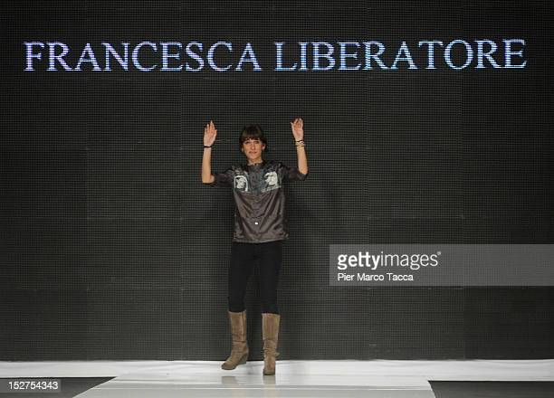 Fashion designer Francesca Liberatore on the runway after the New Upcoming Designers Spring/Summer 2013 fashion show as part of Milan Womenswear...