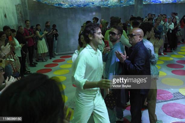 Fashion designer Francesco Risso acknowledges applause of the audience on the catwalk at the Marni fashion show during the Milan Men's Fashion Week...