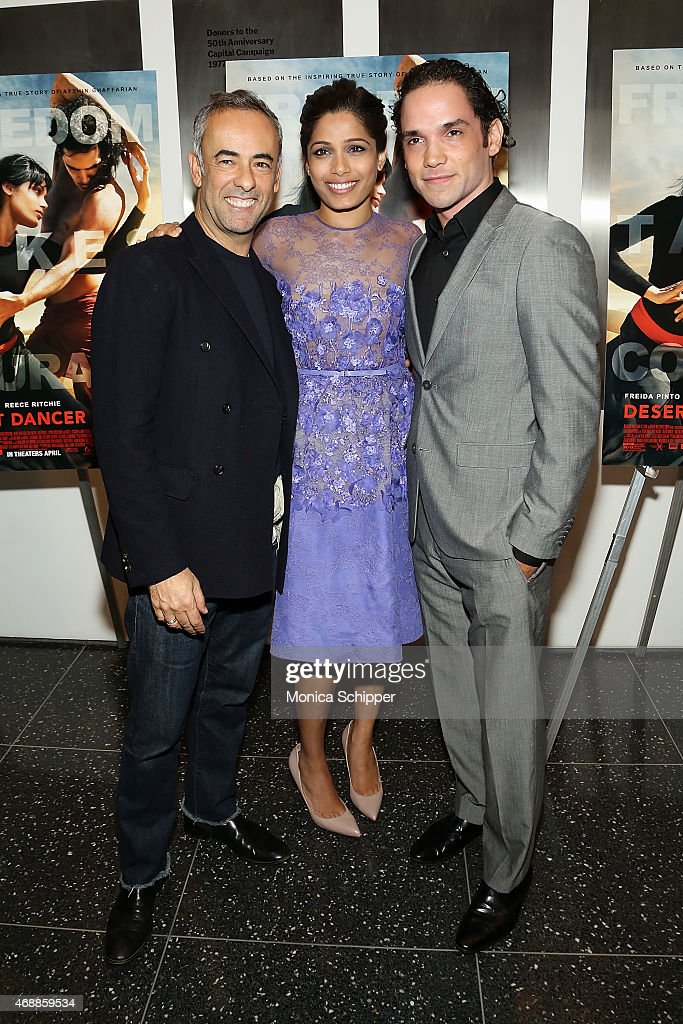 Fashion designer Francisco Costa, and actors Freida Pinto and Reece Ritchie attend the Special Screening Of Relativity Studio's 'Desert Dancer' at Museum of Modern Art on April 7, 2015 in New York City.