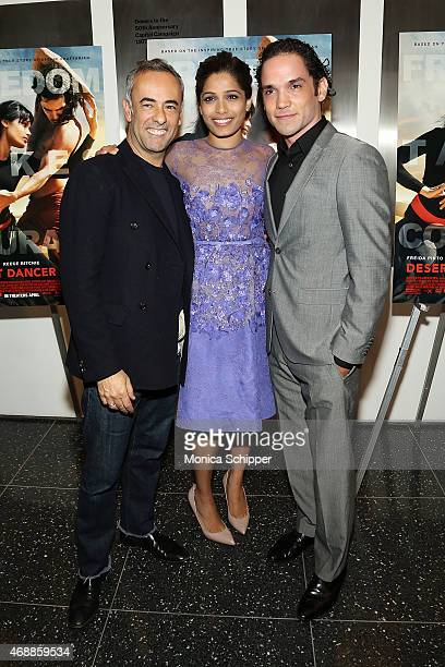 Fashion designer Francisco Costa and actors Freida Pinto and Reece Ritchie attend the Special Screening Of Relativity Studio's 'Desert Dancer' at...