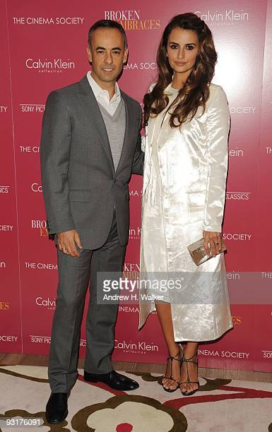 Fashion designer Francisco Costa and actress Penelope Cruz attend The Cinema Society Calvin Klein Collection Host A Screening Of Broken Embraces at...
