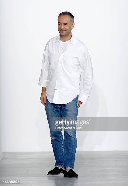 Fashion designer Francisco Costa appears on the runway at the Calvin Klein Collection fashion show during MercedesBenz Fashion Week Spring 2015 at...