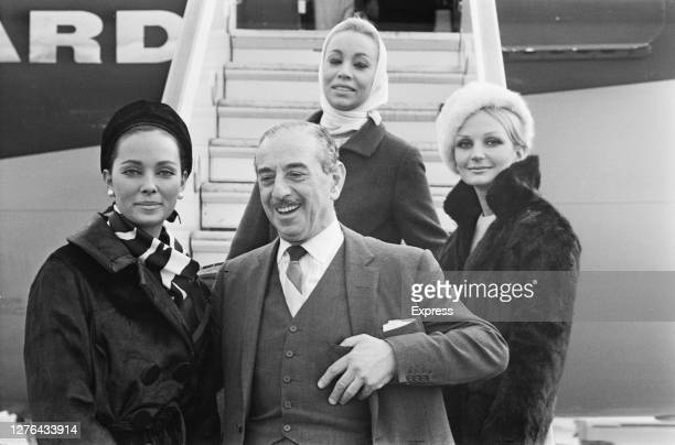 Fashion designer Frederick Starke returns from the United States UK November 1965 He was accompanied on the trip by models Angela Pringle Kay Hutton...