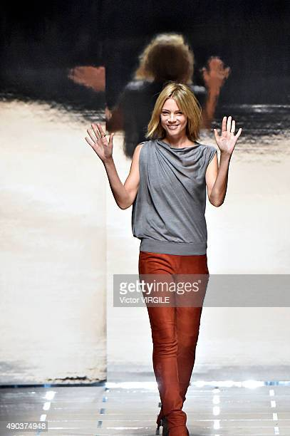 Fashion designer Gaia Trussardi walks the runway during the Trussardi Ready to Wear fashion show as part of Milan Fashion Week Spring/Summer 2016 on...