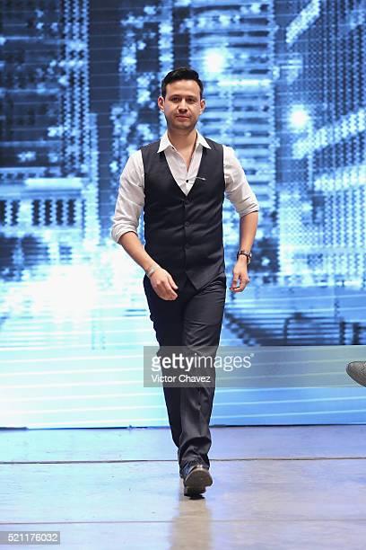 Fashion designer Galo Bertin walks the runway during MercedesBenz Fashion Week Mexico Autumn/Winter 2016 at Auditorio BlackBerry on April 13 2016 in...