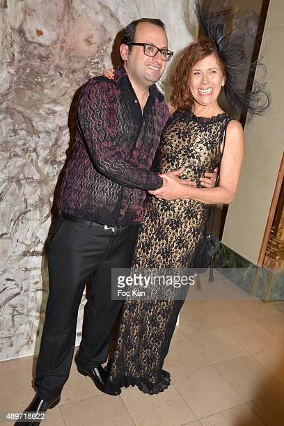 Fashion designer Georges Bedran and hat designer Mira Belle attend the Hotel Westminster Shop Window Unveiling on September 23 2015 in Paris France