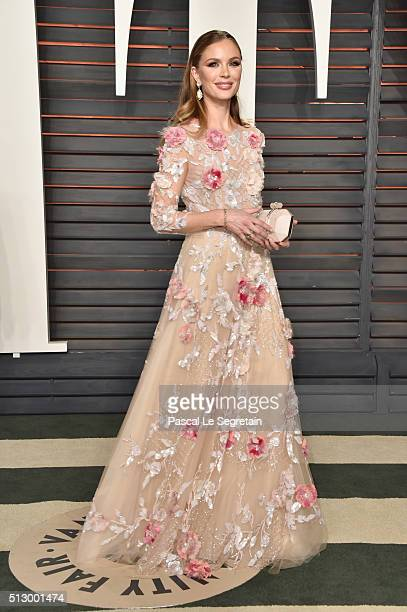 Fashion designer Georgina Chapman attends the 2016 Vanity Fair Oscar Party Hosted By Graydon Carter at the Wallis Annenberg Center for the Performing...