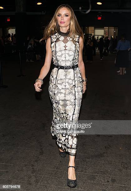 Fashion designer Georgina Chapman is seen arriving at Marchesa fashion show during New York Fashion Week at The Dock Skylight at Moynihan Station on...