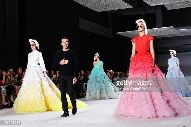 Fashion Designer Giambattista Valli and models at walks the runway at the end of the Giambattista Valli show as part of Paris Fashion Week Haute...