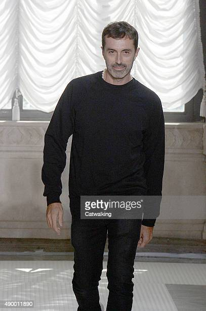 Fashion designer Giambattista Valli walks the runway at the Giamba Spring Summer 2016 fashion show during Milan Fashion Week on September 25 2015 in...