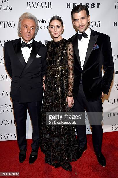 Fashion Designer Giancarlo Giammetti Olivia Palermo and Actor Johannes Huebl attend an evening honoring Valentino at Lincoln Center Corporate Fund...