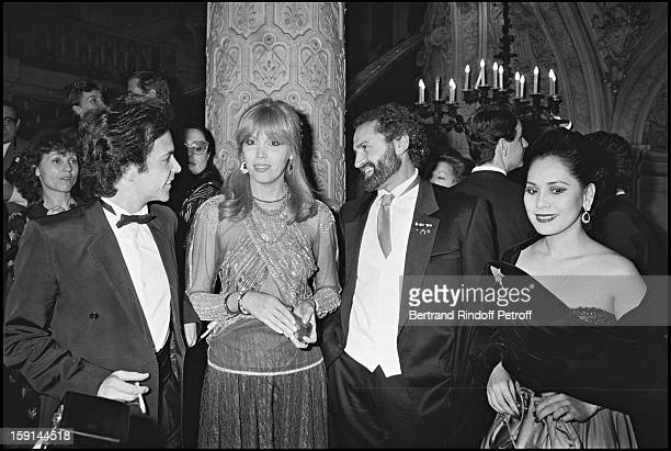 Fashion designer Gianni Versace with AlainPhilippe Malagnac Amanda Lear and Dewi Soekarno during the presentation of his fashion collection in Paris...