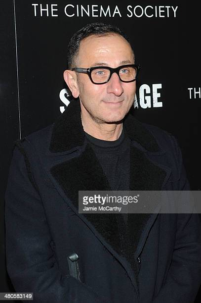 Fashion designer Gilles Mendel attends The Cinema Society with Muscle Fitness screening of Open Road Films' Sabotage at AMC Loews Lincoln Square on...