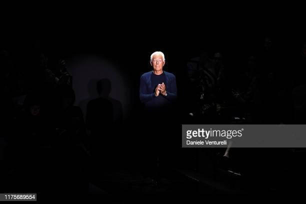 Fashion designer Giorgio Armani acknowledges the applause of the audience at the Emporio Armani show during the Milan Fashion Week Spring/Summer 2020...