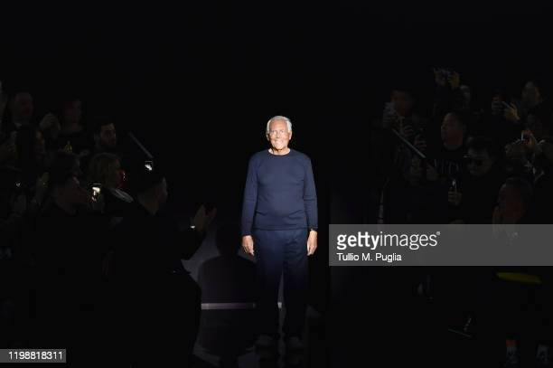 Fashion designer Giorgio Armani acknowledges the applause of the audience at the Emporio Armani fashion show on January 11, 2020 in Milan, Italy.