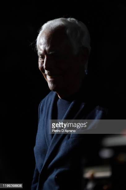 Fashion designer Giorgio Armani acknowledges the applause of the audience at the Giorgio Armani fashion show on January 13, 2020 in Milan, Italy.